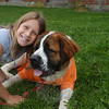 Zoe Freedman gives her St Bernard, Moose, a big hug.  (Hutchison photo)