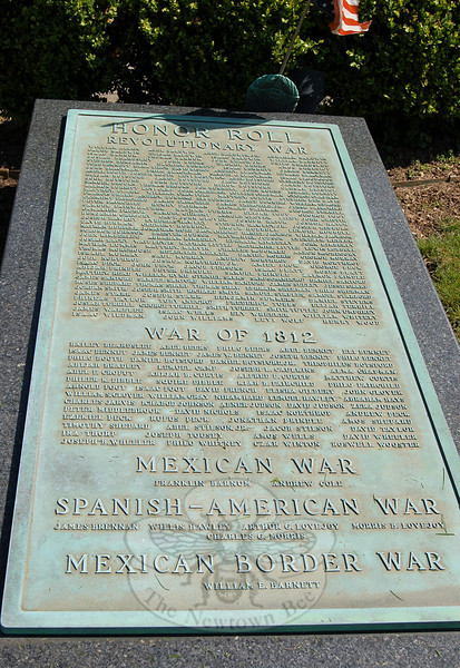 Installed in 1931 when the Liberty and Peace Monument was erected, one of the two original plaques lists the names of Newtown's earliest war heroes. (Crevier photo)