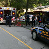 Newtown Ambulance volunteers transported Michael Ocskasy to Danbury Hospital for treatment of injuries following a two-vehicle accident near 20 Saw Mill Road about 4:54 pm May 21. Ocskasy, 34, of Brookfield was driving a Honda CBR northward on Saw Mill Road, as Jim Lor, 33, of Danbury was driving a United Parcel Service van southward there. Ocskasy then lost control of the motorcycle and went over the road's center line, colliding with the front and the side of the van. Both vehicles suffered minor damage. Hawleyville firefighters also responded to the accident. Police said they issued Ocskasy a misdemeanor summons on a charge of driving under suspension. He was released on $250 bail for a June 8 court appearance. Also, Ocskasy failed to drive to the right, police said.  (Hicks photo)