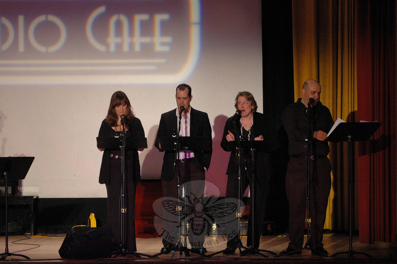 "The Flagpole Shakespeare Repertory Theatre performed a range of topical comedy in the style of ""Prairie Home Companion,"" the popular variety program on National Public Radio. From left is Barbara Gaines, David Wheeler, Jennifer Rogers and Martin Blanco.  (Gorosko photo)"