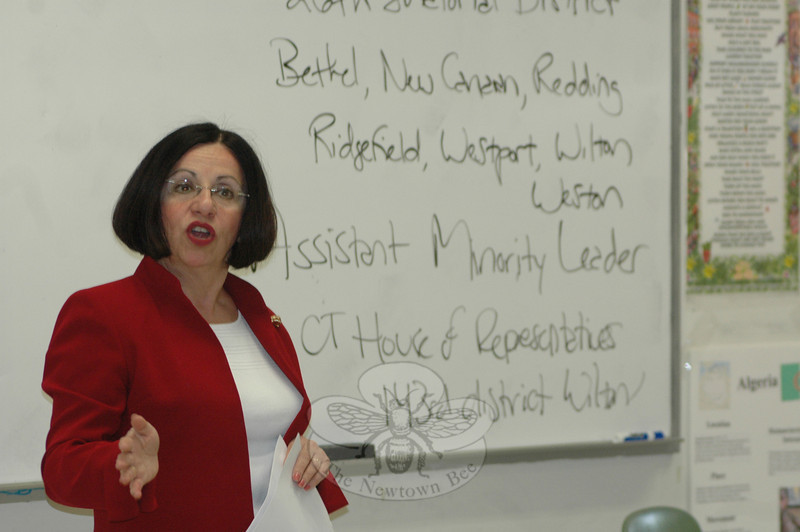 Connecticut State Senator Toni Boucher, who represents seven Fairfield County communities, visited and spoke to an American Government class at Newtown High School on May 17.  (Voket photo)