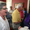 Kim Proctor (left) and Garden Club of Newtown member Joyce DeWolfe, during the second half of the high tea program at The Dana-Holcombe House on Sunday, May 2. Ms Proctor was a special guest during the event hosted by the garden club.  (Hicks photo)