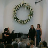 Gwynne Wittmann (standing on left) and Ann Martindale performed Flower Duet from Lakme as part of a spring gala concert at Newtown Meeting House on May 2. Accompanying them on the piano was Susan Anthony Klein (seated, left).  (Hicks photo)