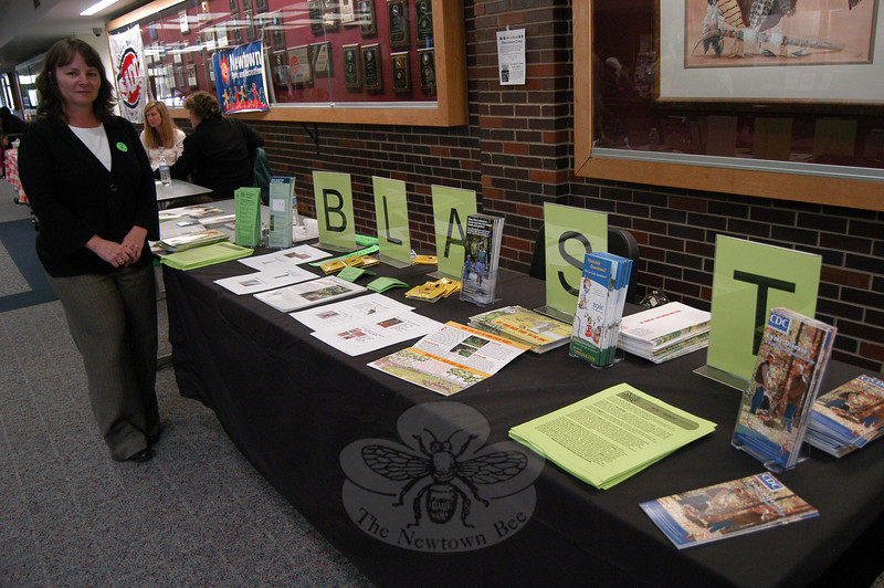 Newtown's Health District Director Donna Culbert shared information on Lyme disease prevention with students during the school's Health Fair.  (Hallabeck photo)