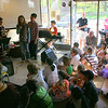 "A large crowd of friends, family and Blue Z regulars attended ""Call of Hope for Haiti: a variety show of talent by children helping children"" on Friday, April 30, at The Blue Z Coffee House. Children in Trinity Episcopal Church's 5th-6th Grade Sunday School class were the performers. On stage when this photo was taken were, from left, comedians Shawn McCarthy, Marie Randle, and Nick Randle.  (Hicks photo)"