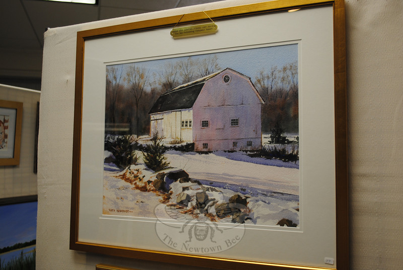 "The Bee Publishing Co. Award went to this work, Ruth Newquist's watercolor ""Historic Barn.""  (Crevier photo)"