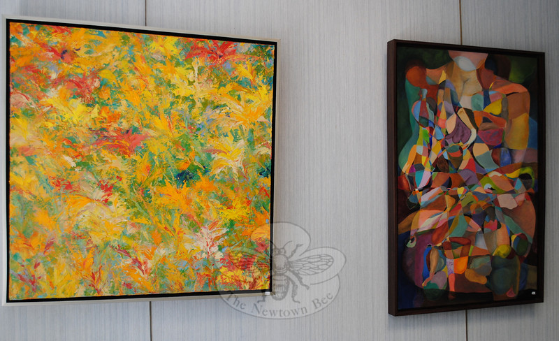 """Reaching for the Sun,"" an abstract oil by Dick McEvoy (left), and ""No Less than Demeter,"" another abstract oil, by Susan Fronapfel, were included in SCAN's Spring Juried Show at C.H Booth Library.  (Crevier photo)"
