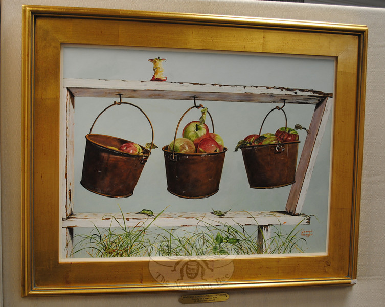 """Joseph Keogan received one of three SCAN Awards presented on May 2 for this acrylic, called """"Apples For Sale.""""  (Crevier photo)"""