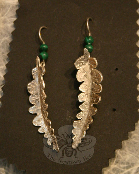 "Newtown resident Rachel Morris used sterling and malachite (wax cast) to create these fern leaf earrings, one of five items by Ms Morris included in ""Creativity 2010: A Celebration of Student Work"" at Brookfield Craft Center.  (Hicks photo)"