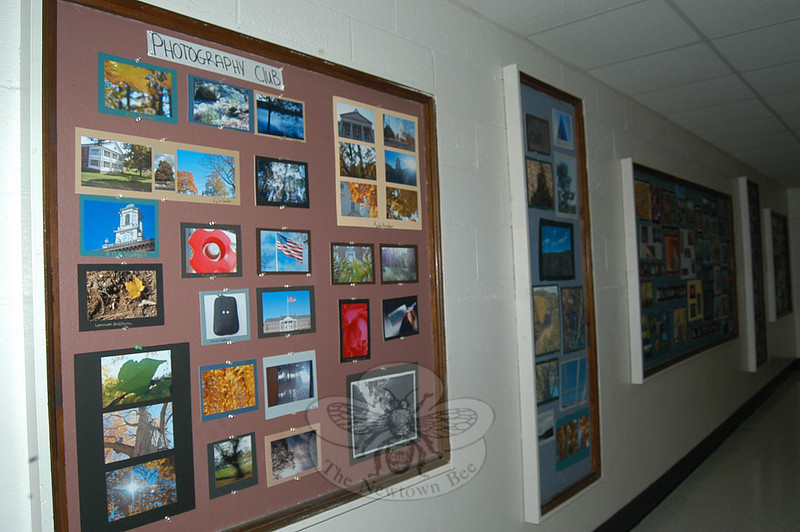 Collected photography from students in Newtown Middle School's Photography Club, a six-week club that gathered together at the start of the school year, is now on display in the school. All of the students work with digital cameras. Photographs taken by students include Newtown's flagpole, landscapes, and scenes from Fairfield Hills.  (Hallabeck photo)