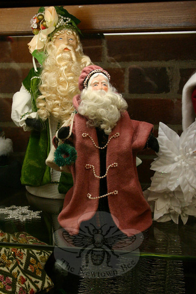 One of Irene Thacker's Santa figures, on view this month at C.H. Booth Library.  (Hicks photo)