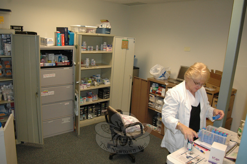 The Kevin's Community Center medicine and supply storage and dispensing area, which was formerly housed in a cozy closet at its former site on Peck's Lane, has ballooned in size at the local health clinic's new location at 153 South Main Street.  (Voket photo)