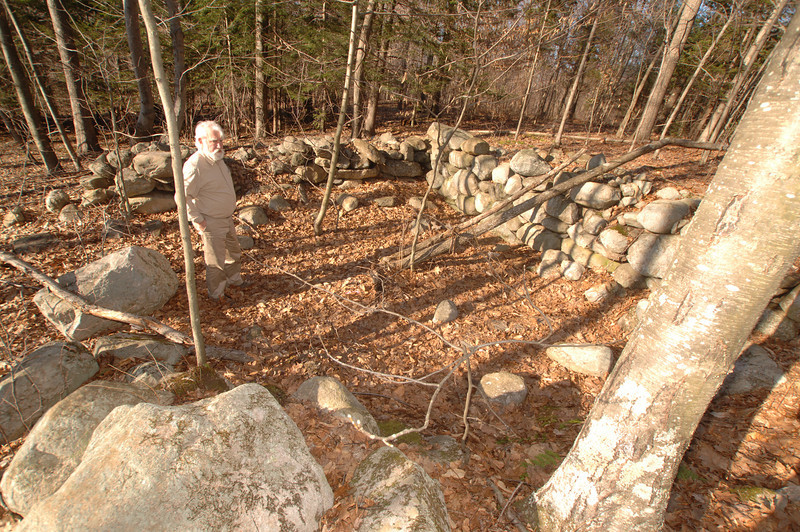 Setting foot inside a foundation near the end of Stonebridge Road, Town Historian Dan Cruson guesses the structure would have served as an outbuilding.