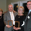 Newtown Rotary/Chamber of Commerce Business of the Year recipients Jim Gulalo of Preferred Insurance and Mary Griffin representing TR Paul, are flanked by Chamber Chair Ann Marie DeWeese and Rotary President Bill Calderara following the annual dinner award ceremonies March 22.  (Voket photo)