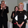 Business of the Year finalists in the large business category — employing more than 25 persons — included TR Paul, Caldwell & Walsh Building Construction, and Union Savings Bank. Mary Griffin of TR Paul, right, reacts as her company is announced the winner while Union Savings Bank Newtown Branch Manager Peggy Velthuizen, and Mark Principi, president of Caldwell and Walsh applaud.  (Voket photo)