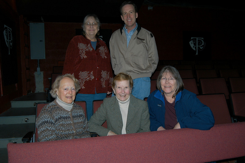 Members of Town Players' board of directors, standing, Ruthann Baumgartner and Chris Bird; and seated, from left, Marge Rogers, Ethyle Power, and Mary Poile, are delighted about upcoming events planned to celebrate the 75th anniversary of the community theater group.  (Crevier photo)