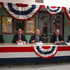 The local Republican Town Committee welcomed five declared GOP candidates for Connecticut's top office to the second of a series on ongoing forums March 24. Seated from left are Oz Griebel, Tom Marsh, Mark Boughton, Tom Foley, and Larry DeNardis. While Lieutenant Governor Michael Fedele was also invited, he opted not to attend.  (Voket photo)