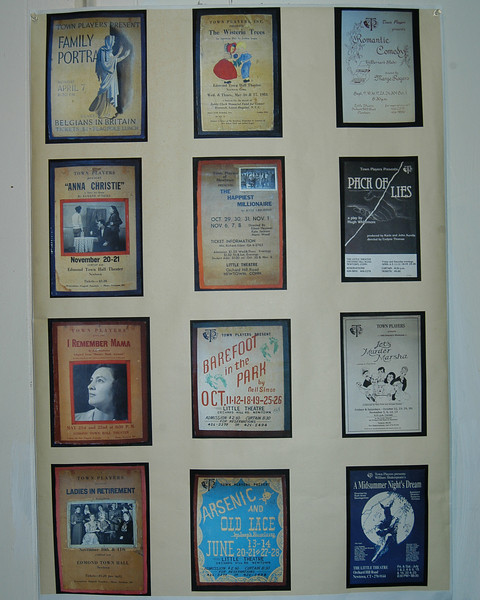 A poster of several early plays presented by The Town Players hangs in the lobby of The Little Theatre on Orchard Hill Road. Close examination shows that the cost of admission for Ladies in Retirement, produced in 1948, and for Anna Christie, produced in 1946, was just $1.20.  (Crevier photo)