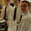 From right to left seventh grade St Rose of Lima students Michael Dutsar, Luca Imbimbo and Jack Bial worked on creating designs for the jelly bean dispensers on March 5. Group member Sophie Chiravelli was unavailable for the photo.  (Hallabeck photo)