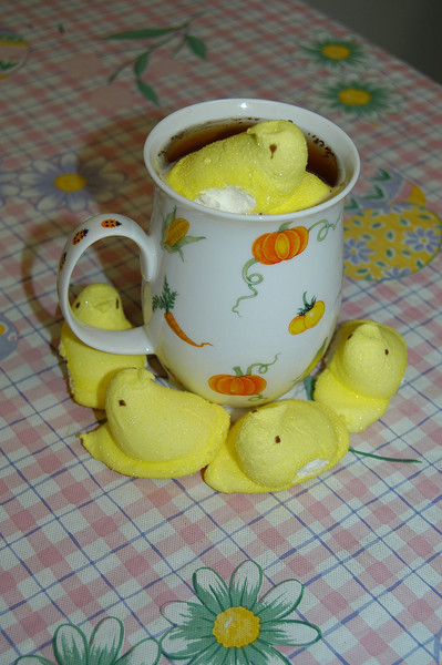 Floating a Peep on top of a steaming cup of hot chocolate or even a cappuccino is a whimsical way to enjoy a Peep, the marshmallow treat originally made for Easter that is now available nearly year-round.  (Crevier photo)