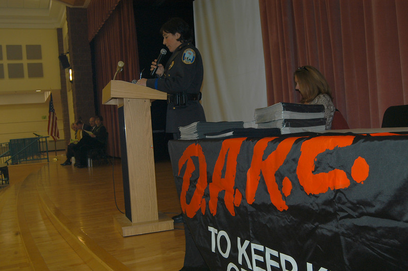 School Resource Officer Gladys Pisani spoke at the March 16 DARE graduation ceremony held at Reed Intermediate School.  (Hallabeck photo)