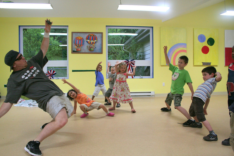Children's Adventure Center students were able to take a dance workshop with Austin Dailey, who works for Red Supreme Productions of Durham, during a year-end celebration on June 19.   (Hicks photo)