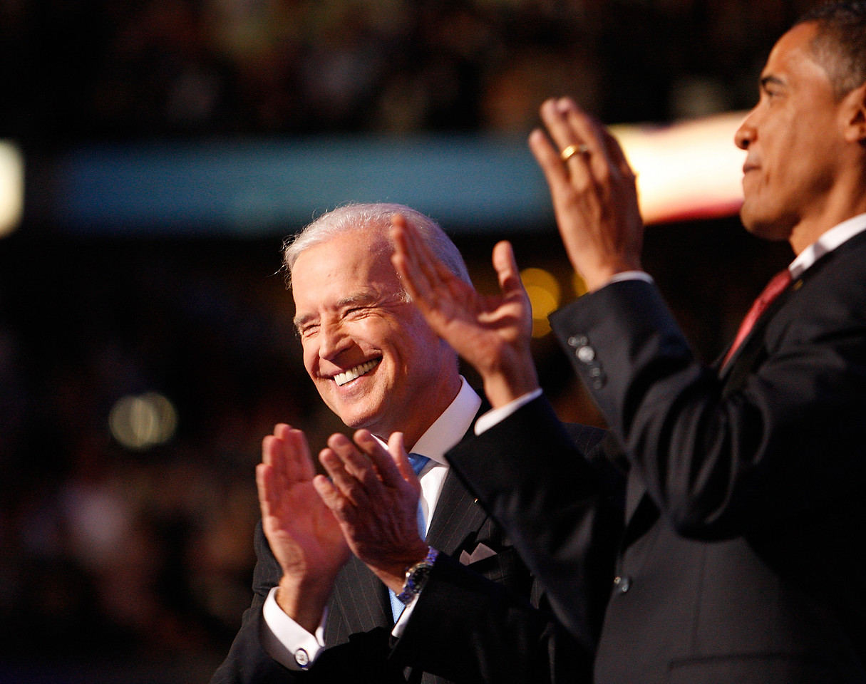 8/27/08 - Denver, CO - Pepsi Center - Senator Joseph Biden, left, accepted the nomination for the vice presidential spot on the Democratic ticket on Wednesday night, August 27, 2008.  To right is Barack Obama. Dina Rudick/Globe Staff.