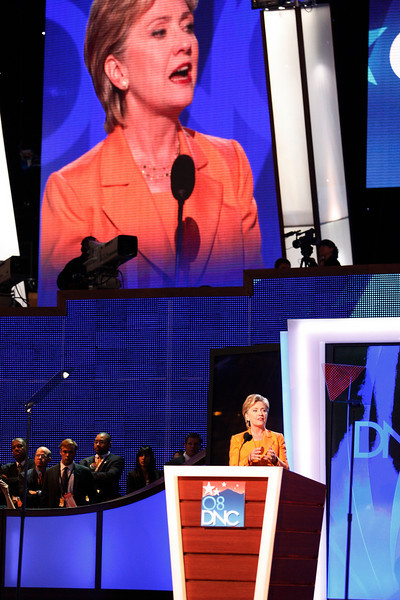 8/26/08 - Denver, CO - Pepsi Center - Senator Hillary Clinton and one-time presidential hopeful addressed the Democratic National Convention on Tuesday evening, August 26, 2008. Dina Rudick/Globe Staff.