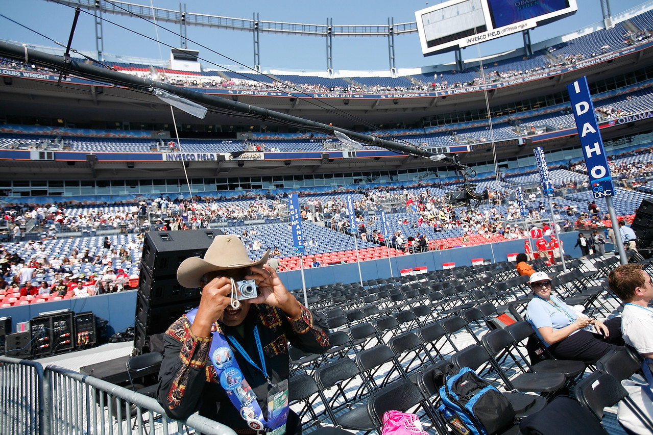 8/28/08 - Denver, CO - Invesco Field - Democratic National Convention - The stage at Invesco field is set for Senator Barack Obama to address an estimated crowd of 75,000 on the final night of the Democratic National Convention in Denver, CO on Thursday, August 28, 2008. Dina Rudick/Globe Staff.