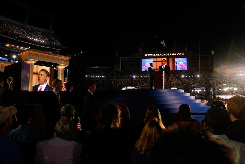 8/28/08 - Denver, CO - Invesco Field - Democratic National Convention -<br /> Senator Barack Obama addressed an estimated crowd of 75,000 on the final night of the Democratic National Convention in Denver, CO on Thursday, August 28, 2008. Dina Rudick/Globe Staff.