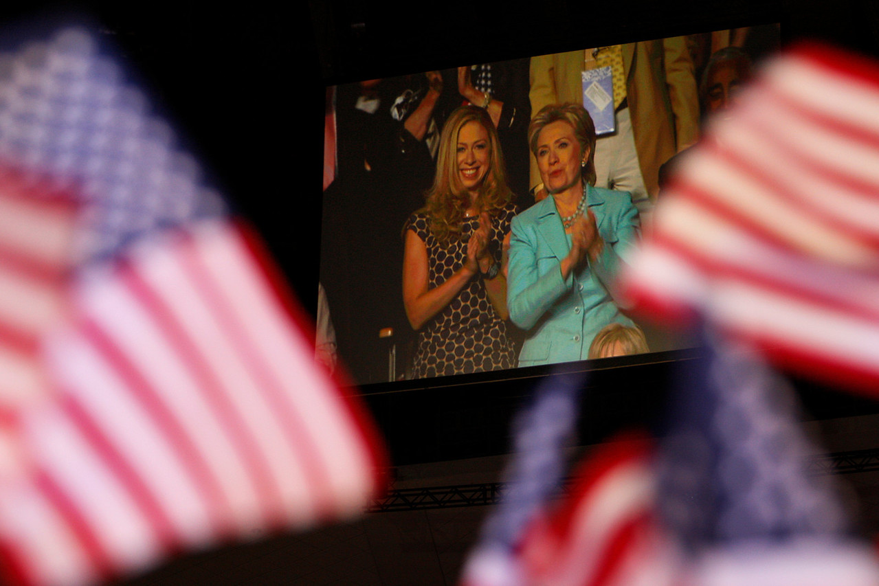 8/27/08 - Denver, CO - Pepsi Center - Hillary Clinton and her daughter, Chelsea Clinton, watched President Bill Clinton address the DNC. Senator Joseph Biden accepted the nomination for the vice presidential spot on the Democratic ticket on Wednesday night, August 27, 2008.  Dina Rudick/Globe Staff.