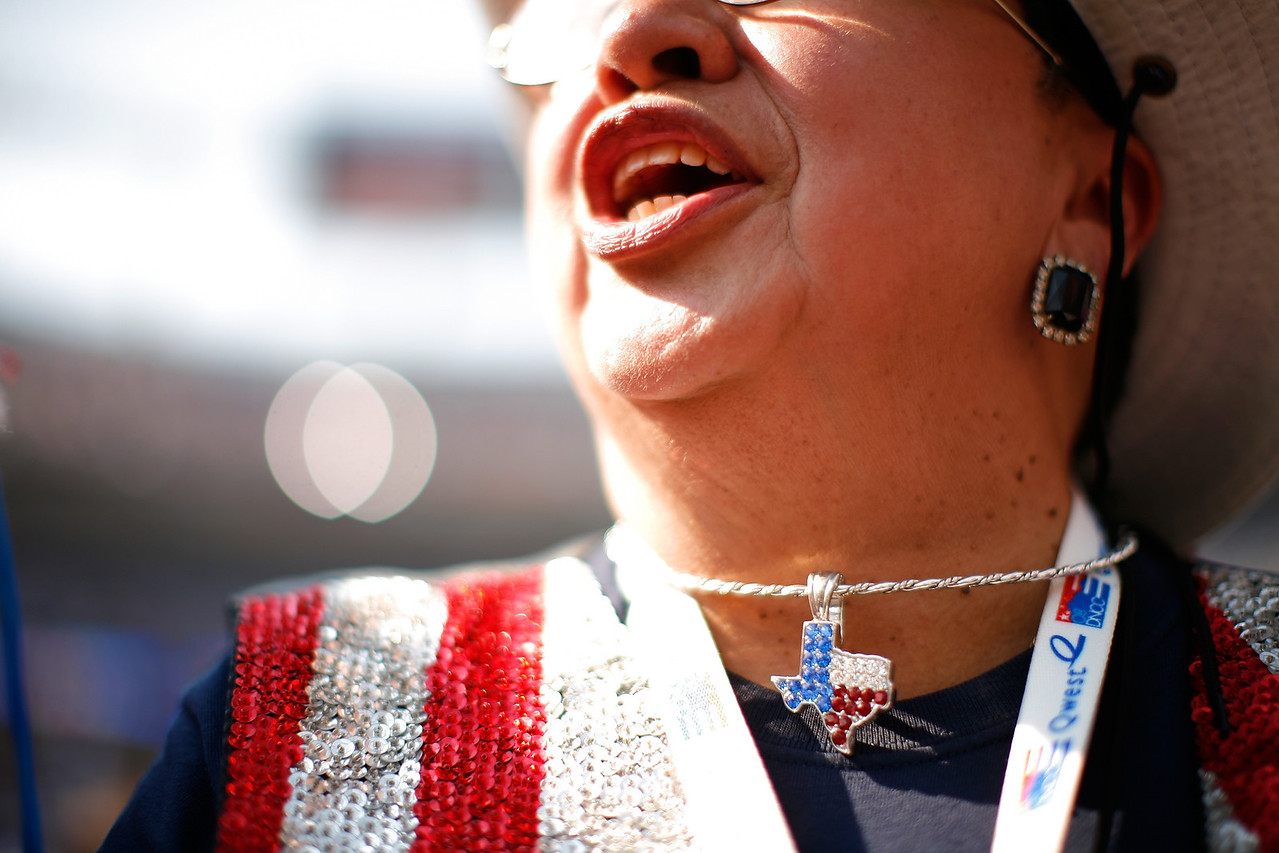8/28/08 - Denver, CO - Invesco Field - Democratic National Convention - Susie Luna-Salda–a, a delegate from  Corpus Christi, TX, sported some patriotic bling at Invesco Field on the final night of the DNC. Senator Barack Obama will address an estimated crowd of 75,000 on the final night of the Democratic National Convention in Denver, CO on Thursday, August 28, 2008. Dina Rudick/Globe Staff.