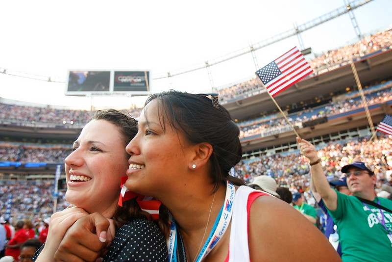 "8/28/08 - Denver, CO - Invesco Field - Democratic National Convention -<br /> Jennifer Estroff, cq, an alternate from Ellensburg, Washington, and Kristine Reeves, cq, right, a delegate from Spokane, Washington, react with emotion as John Legend sings ""Yes We Can."" <br /> Senator Barack Obama will address an estimated crowd of 75,000 on the final night of the Democratic National Convention in Denver, CO on Thursday, August 28, 2008. Dina Rudick/Globe Staff."