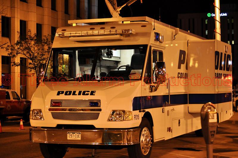 Colorado Springs Police Mobile Command Unit downtown Colorado Springs, Colorado at the 2012 Olympic Opening Ceremony Celebration in Colorado Springs.