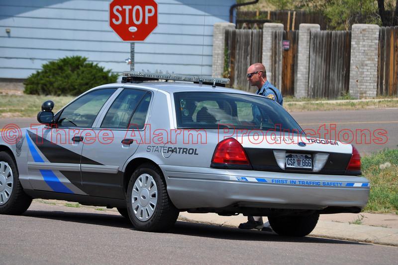 Colorado State Patrol on the scene of a traffic accident in Cimarron Hills, Colorado.