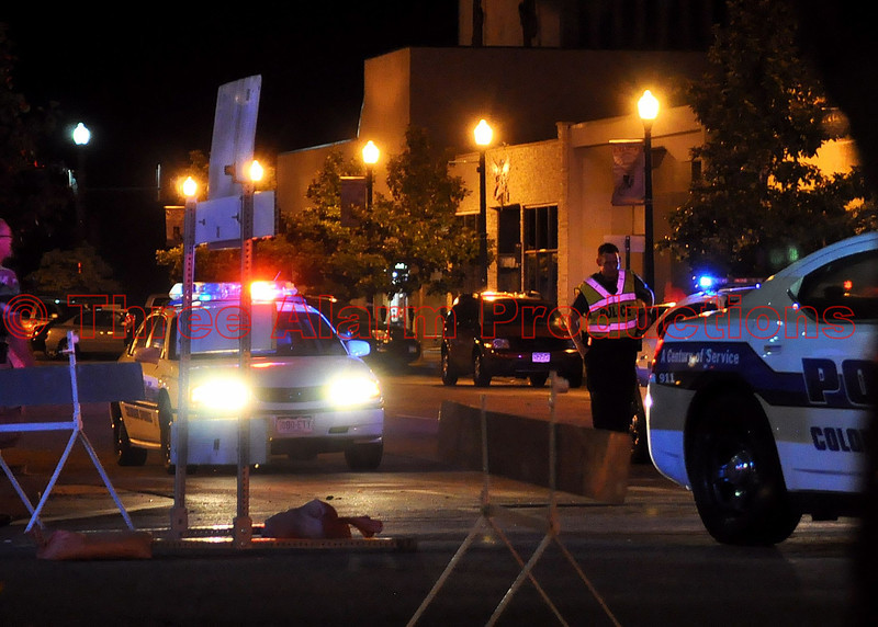 Colorado Springs Police providing traffic control at the 2012 Olympic Opening Ceremony Celebration in downtown Colorado Springs, Colorado.