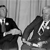 """James Brett and Albert """"Dapper"""" O'Neil. Jamaica Hills Assn. candidate forum. 1979."""