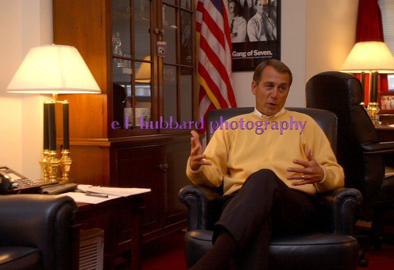 Photo by E.L. HUBBARD/Cox Newspapers slug: BOEHNER-COX WASHINGTON--Rep. John Boehner, of West Chester Township, Ohio, talks with Cox Newspapers about his bid to be the House majority leader in his office on Capitol Hill Wednesday, 1/18/06. (Photo by E.L. HUBBARD/Cox Newspapers)
