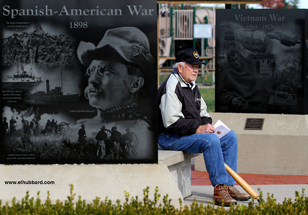 E.L. Hubbard photography<br /> Al Schwegman, an Army veteran, sits in the Veterans' Memorial Area of the Hanover Township Park before the start of the Veterans Day Ceremony Sunday, Nov. 11, 2012.