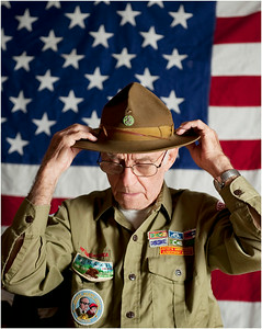 Don Foust, of Centre Hall, PA, poses in his decades-old Boy Scouts of America uniform. Foust, who recently turned 90, has been involved with Scouting constantly since his youth. Foust was photographed Oct. 29, 2010.