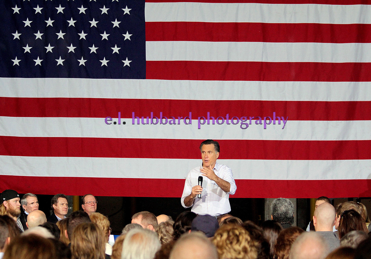 E.L. Hubbard photograpy<br /> Republican contender for the GOP presidential nomination, Mitt Romney, speaks during a campaign stop at USAeroteam in Beavercreek Saturday, Mar. 3, 2012.