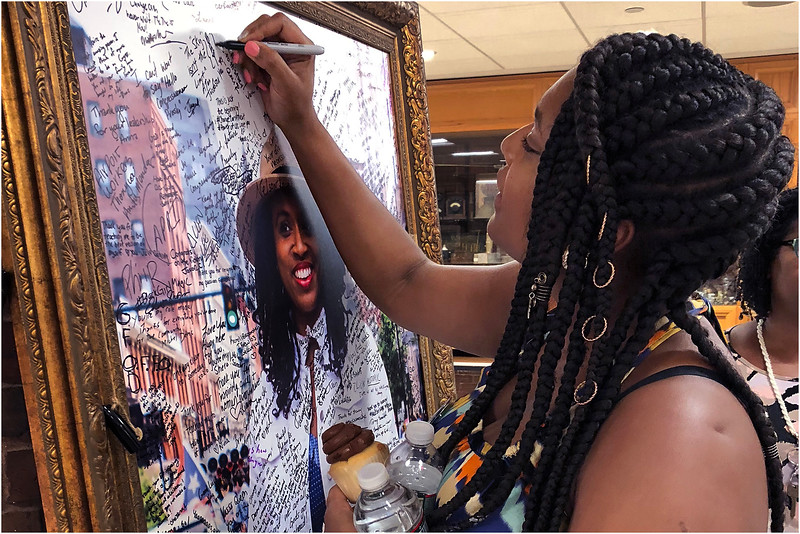 BribForde of Mattapan leaves her mark following the victyory celebration for Ayanna Pressley at IBEW Hall in Dorchester.