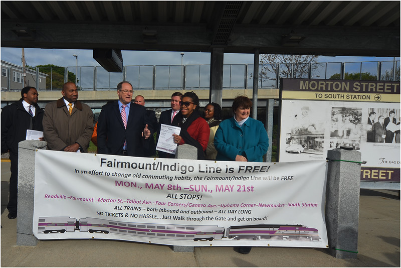 US Rep. Mike Capuano speaks about free rides on the Fairmount/Indigo rail line in May, 2017.