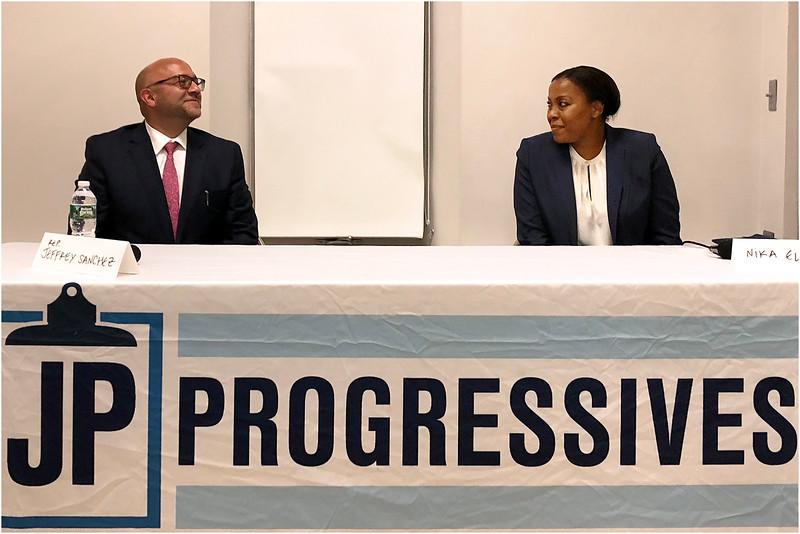 Rep. Jeffrey Sanchez and challeger Nika Elugardo at Jamaica Plain candidate forum in July.