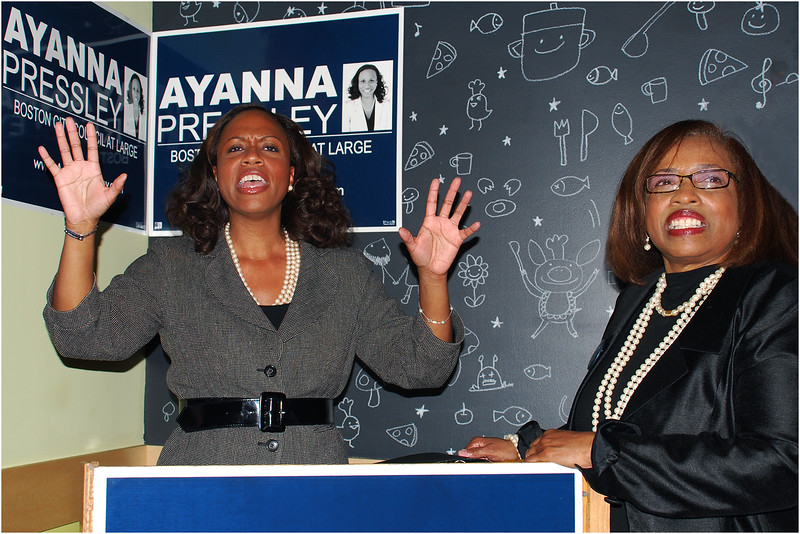 Ayanna Pressley, with her mother Sandra Pressley, celebrating her first electoral victory--to the Boston City Council--in 2009 at Tavolo in Dorchester.