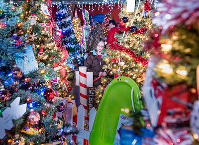 Rianna St.Pierre, 9, of Poland, scrutinizes over what tree she wants to put her raffle ticket in to win at the Kora Temple in Lewiston Wednesday afternoon at the annual FEZtival of Trees.
