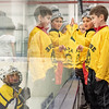 Connor Langdan, foreground right, and friends cheer their friends on the Gladiators Yellow team before the start of the 2020 Mites Championship game between Gladiators Yellow and Gladiators Green at the 48th Annual Lions Tournament at the Norway Savings Bank Arena in Auburn.