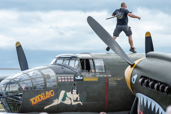Refueling the Mitchell B-25 at the airport after landing Wednesday afternoon. Vintage aircraft will be on display with tours and rides at Auburn/Lewiston Municipal Airport through Friday during the Collings Foundation Wings of Freedom Tour.