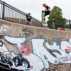 Miles O'Brien flies out of a bowl at the skate park in Lewiston Tuesday afternoon. He lives in New Hampshire now but had a week off from work and came back to Lewiston where he grew up to visit friends and skate in one of the best skate parks in the area.