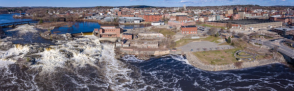 Great Falls roars from spring runoff in this aerial photo taken April 30, 2019.